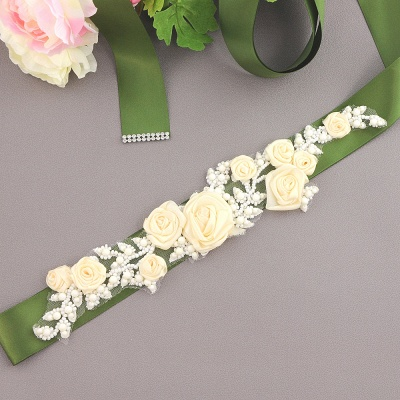 Elegant Satin Flowers Wedding Sash with Beadings_4