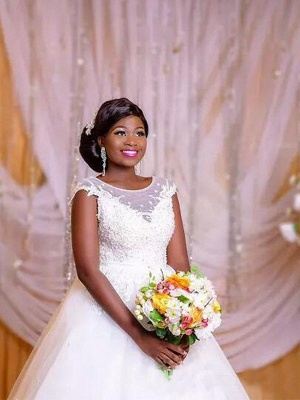 Elegant Floor-Length Tulle Sleeveless Scoop Floor-Length Puffy Applique Wedding Dresses_4