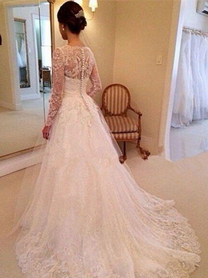 Puffy Long Sleeves Court Train Tulle V-neck Lace Wedding Dresses_3