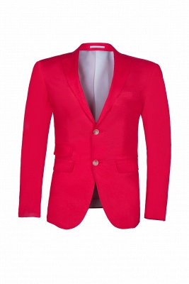 Popular Stylish Design Back Vent Peak Lapel Red Best Men Groomsmen_1