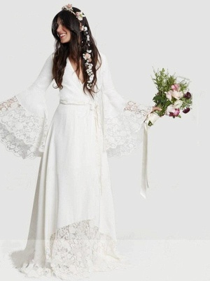Alluring Floor-Length V-neck Chiffon Long Sleeves Lace Ribbon Wedding Dresses_6