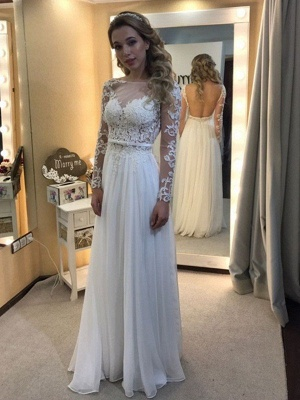 Gorgeous Bateau Long Sleeves Floor-Length Lace Chiffon Wedding Dresses_1