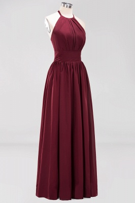 Simple A-Line Chiffon Bridesmaid Dresses | Halter Ruched Hollow Back Maid of The Honor Dresses_9
