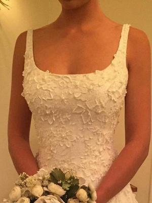Dazzling Court Train Straps Sleeveless Square Lace Applique Wedding Dresses_3