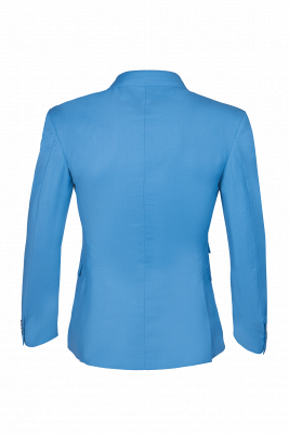 Ocean Blue Casual Suit Customize Groomsmen Peak Lapel Double Breasted_3