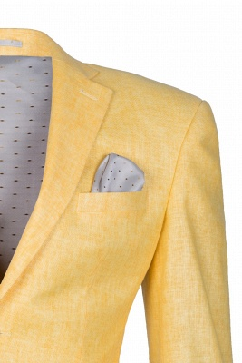 Peak Lapel Two Button Daffodil High Quality Wedding Suit Casual Suit_5