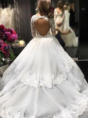 Lace Tulle Court Train Long Sleeves V-neck Puffy Wedding Dresses_3