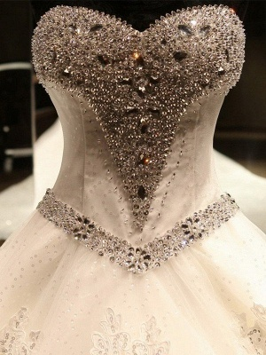 Sleeveless Sweetheart Puffy Cathedral Train Tulle Applique Sequin Wedding Dresses_4