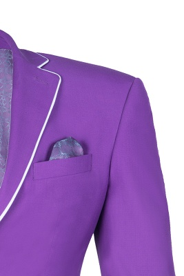 Lilac Latest Design Peak Lapel Single Breasted Two Button Wedding Suit_4