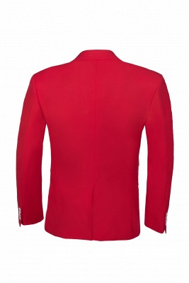 Customize Red Two Button High Quality Back Vent Wedding Suit_5