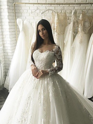Elegant Applique Court Train Puffy Scoop Tulle Long Sleeves Wedding Dresses_4