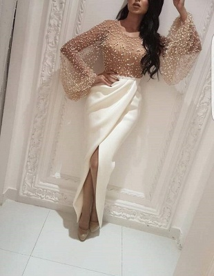 Luxury Pearls Slit Evening Gowns   Long Sleeves Ruffles Formal Dresses_1