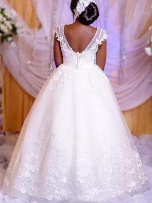 Elegant Floor-Length Tulle Sleeveless Scoop Floor-Length Puffy Applique Wedding Dresses_3
