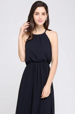 Simple A-Line  Halter Sleeveless Floor-Length Bridesmaid Dresses_4