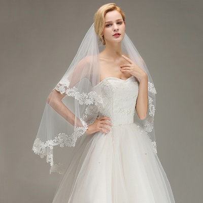Lace Edge Wedding Veil with Comb Two Layers Tulle Bridal Veil_4