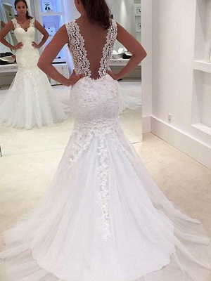 Stunning V-neck Sexy Mermaid Lace Sleeveless Wedding Dresses  Court Train Applique Bridal Gowns_1