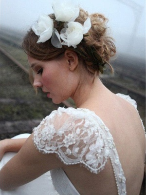 V-neck Floor-Length Sleeveless Lace Chiffon  Wedding Dresses_4