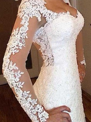 V-neck Sweep Train Applique Lace Sexy Mermaid Long Sleeves Wedding Dresses_5