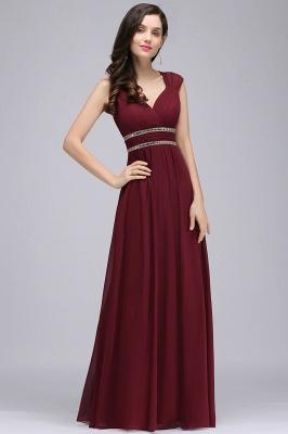 Vintage A-Line  V-Neck Cap Sleeve Ruffles Floor-Length Bridesmaid Dresses with Beadings_3