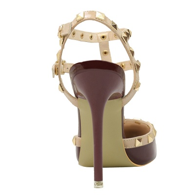 Fashion Pionted Toe High Heel Buckle Hollowout Wedding Shoes with Rivets_7