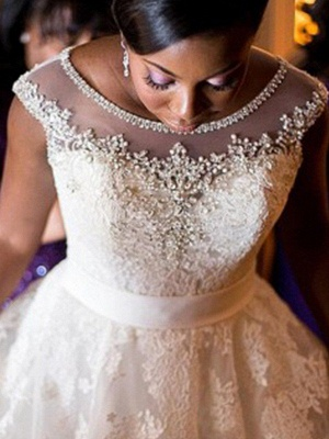 Alluring Tulle Scoop Lace Applique Wedding Dresses | Floor-Length Sleeveless Beaded Bridal Gowns_4