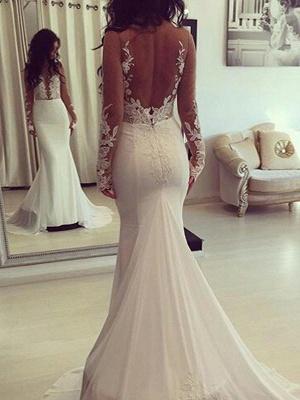 Court Train Satin Long Sleeves Scoop Sexy Mermaid Wedding Dresses_1