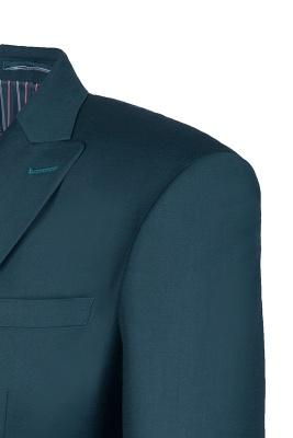 Dark Green Stylish Design Back Vent Peak Lapel Slim Fit Wedding Suit_4
