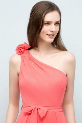 A-line  One-Shoulder Sleeveless Floor-Length Bridesmaid Dress with Bow Sash_6