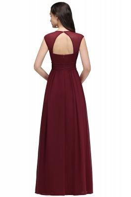 Vintage A-Line  V-Neck Cap Sleeve Ruffles Floor-Length Bridesmaid Dresses with Beadings_2