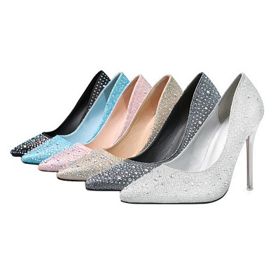 Fashion Pionted Toe High Heel Wedding Shoes with Beadings_8