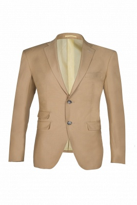 Latest Design Two Button Nude Color Peak Lapel Bridegroom Wedding Suit_1