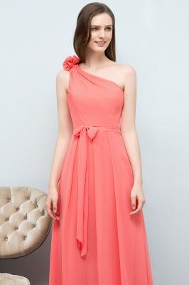 A-line  One-Shoulder Sleeveless Floor-Length Bridesmaid Dress with Bow Sash_5