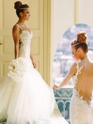 Spaghetti Straps Tulle Sleeveless Sweetheart Lace Sexy Mermaid Wedding Dresses_4