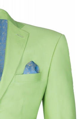 High Quality Sage Two Button Peak Lapel Latest Design Wedding Suit_4