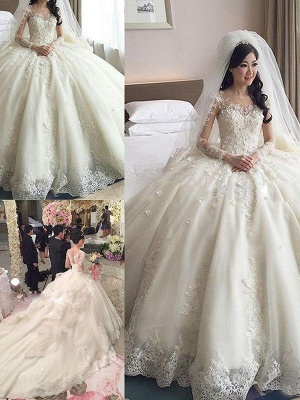 Tulle Scoop Applique Long Sleeves Puffy Cathedral Train Lace Wedding Dresses_4