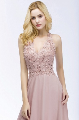 A-line  Appliques V-neck Sleeveless Floor-Length Bridesmaid Dresses with Pearls_5