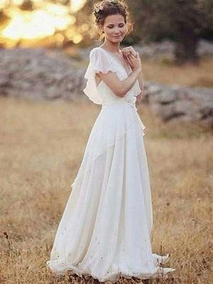 Charming Ruched Floor-Length V-neck Short Sleeves Chiffon Wedding Dresses_1