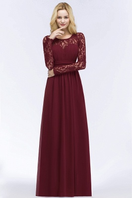 Elegant A-Line  Jewel Long Sleeves Ruffles Floor-Length Bridesmaid Dresses_3