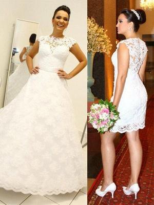 Shabby Chic Floor-Length Scoop Sleeveless Lace Puffy Wedding Dresses_1