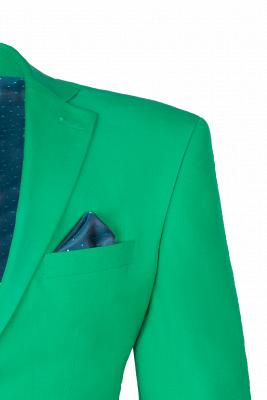 Turquoise Customize Single Breasted Peak Lapel Groomsmen Popular Wedding Suit_4
