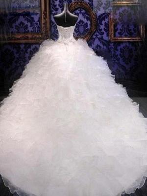 Sleek Chapel Train Beaded Sequin Puffy Sweetheart Sleeveless Organza Wedding Dresses_3