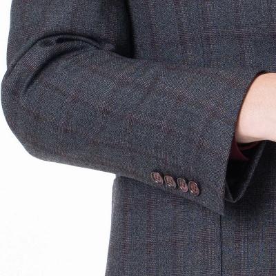 Career Suits Two Button Single Breasted Lattice Peak Lapel_5
