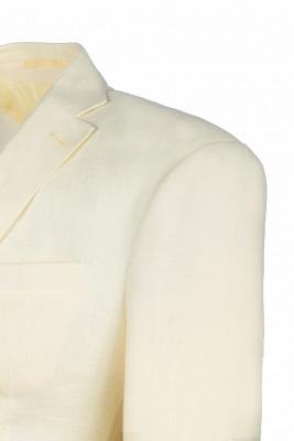 Back Vent Champagne Peak Lapel Two Button Fashion Wedding Suit_5