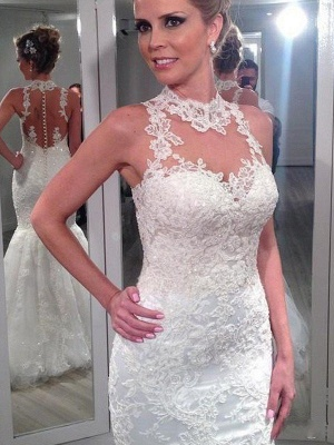 Sleeveless Lace Tulle Sexy Mermaid Wedding Dresses | Floor-Length High Neck Bridal Gowns_1