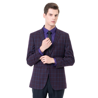 Custom Made Comfortable Lattice Two-piece Suit Peak Lapel_1