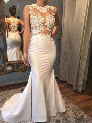 Dazzling Scoop Sleeveless Applique Court Train Satin Sexy Mermaid Wedding Dresses_1