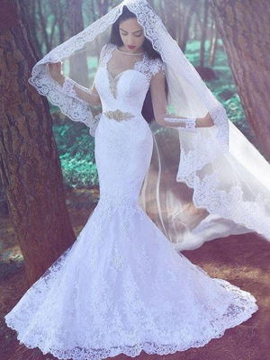 Long Sleeves Sweetheart Court Train Sexy Mermaid Applique Lace Wedding Dresses_1