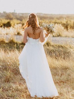Glamorous Floor-Length Tulle Ruched Sweetheart Sleeveless Wedding Dresses_5