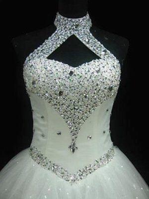 Puffy Sleeveless Floor-Length Beaded Tulle Halter Sequin Wedding Dresses_3