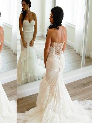Court Train Sleeveless Lace Tulle Sweetheart  Sexy Mermaid Wedding Dresses_1